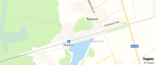 Карта деревни Ядрихи в Архангельской области с улицами и номерами домов