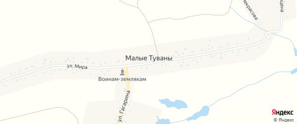 Улица Мира на карте деревни Малые Туваны с номерами домов