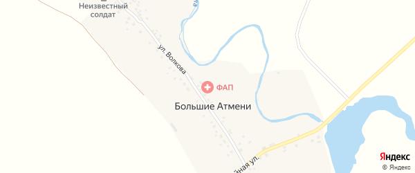 Шоссейная улица на карте деревни Большие Атмени с номерами домов
