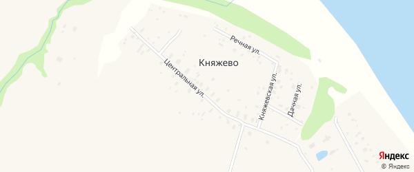 Центральная улица на карте поселка Княжево с номерами домов