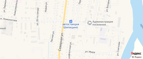 Краснофлотская улица на карте поселка Шипицыно с номерами домов