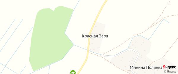 Тихая улица на карте деревни Красной Зари с номерами домов