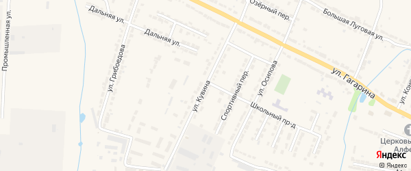 Улица Кувина на карте Алатыря с номерами домов