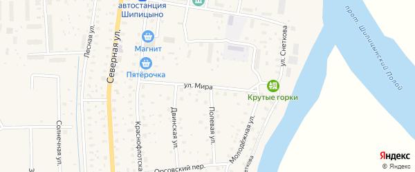 Улица Мира на карте поселка Шипицыно с номерами домов
