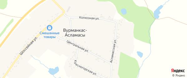 Центральная улица на карте деревни Вурманкас-Асламасы с номерами домов