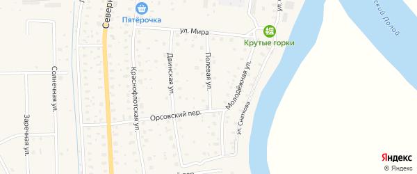 Полевая улица на карте поселка Шипицыно с номерами домов