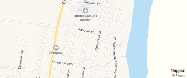 Поселковая улица на карте поселка Шипицыно с номерами домов