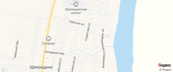 Советская улица на карте поселка Шипицыно с номерами домов