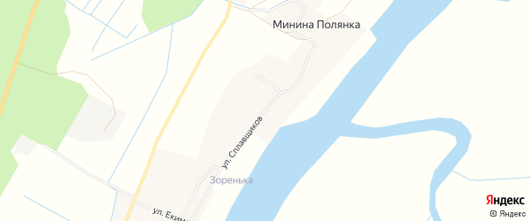 Карта деревни Мининой Полянки в Архангельской области с улицами и номерами домов
