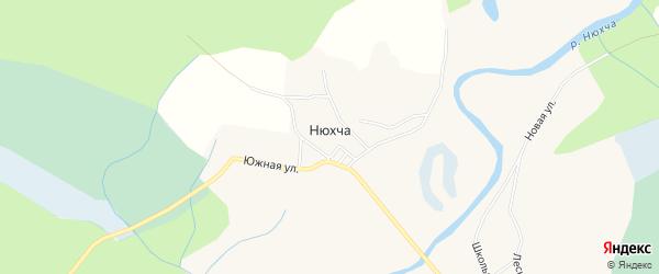 Карта деревни Нюхчи в Архангельской области с улицами и номерами домов