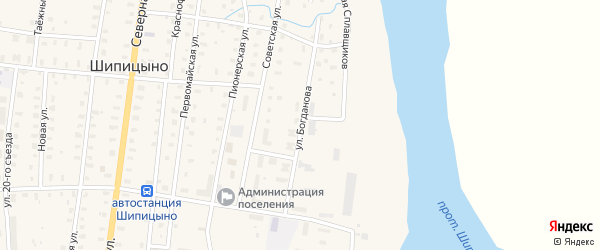 Улица Богданова на карте поселка Шипицыно с номерами домов