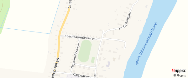 Красноармейская улица на карте поселка Шипицыно с номерами домов