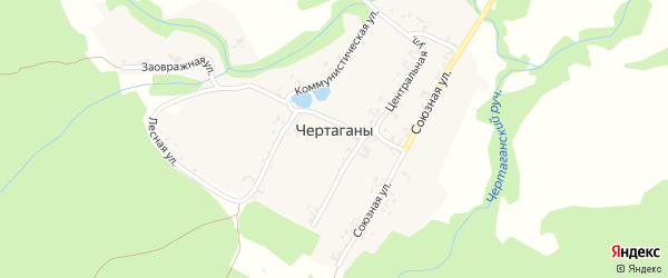 Союзная улица на карте деревни Чертаганы с номерами домов