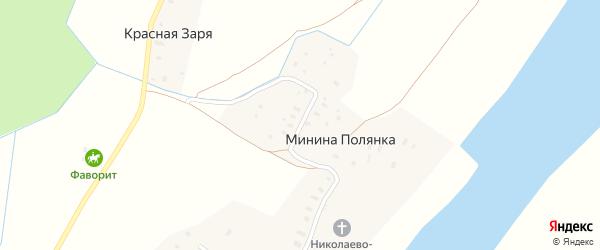 Малиновая улица на карте деревни Мининой Полянки с номерами домов