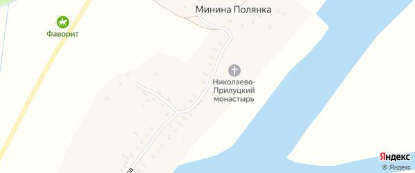 Монастырская улица на карте деревни Мининой Полянки с номерами домов