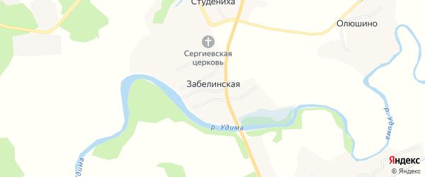 Карта Забелинской деревни в Архангельской области с улицами и номерами домов
