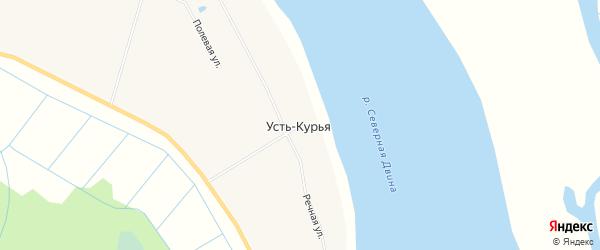 Карта поселка Усть-курьей в Архангельской области с улицами и номерами домов
