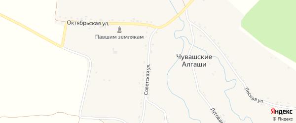 Советская улица на карте деревни Чувашские Алгаши с номерами домов