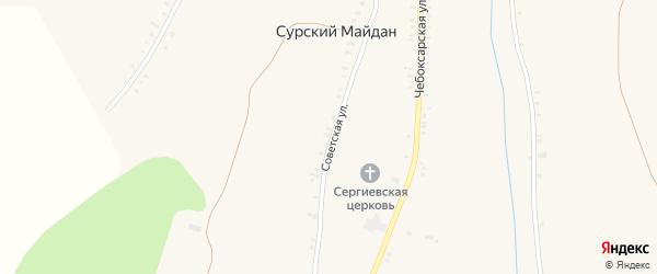 Советская улица на карте села Сурского Майдана с номерами домов