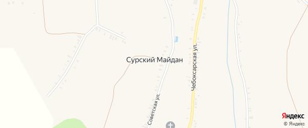Береговая улица на карте села Сурского Майдана с номерами домов