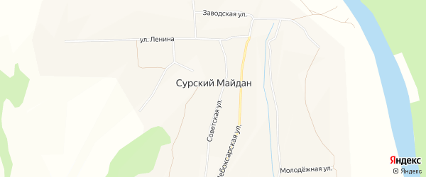 Карта села Сурского Майдана в Чувашии с улицами и номерами домов