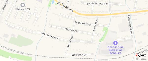 Мирная улица на карте Алатыря с номерами домов