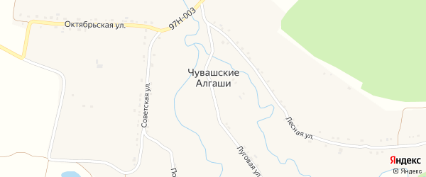 Полевая улица на карте деревни Чувашские Алгаши с номерами домов