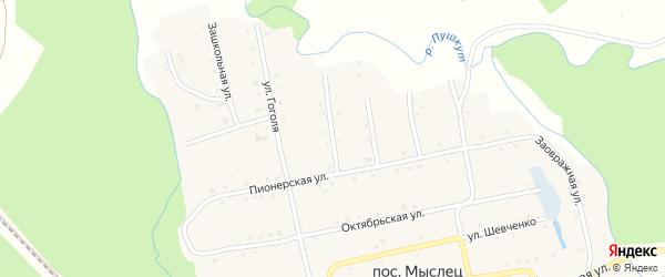 Пионерский переулок на карте поселка Мыслеца с номерами домов