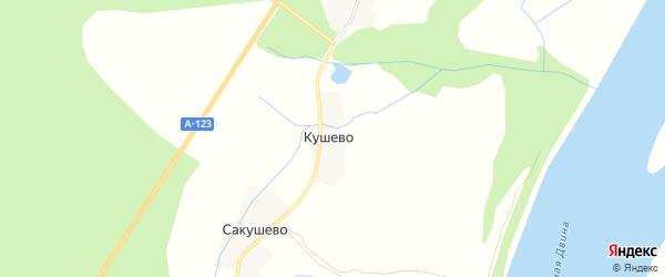 Карта деревни Кушево в Архангельской области с улицами и номерами домов