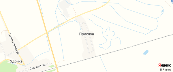 Карта деревни Прислона в Архангельской области с улицами и номерами домов