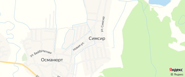 Карта села Симсира в Дагестане с улицами и номерами домов