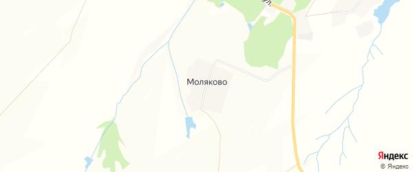 Карта деревни Моляково в Чувашии с улицами и номерами домов