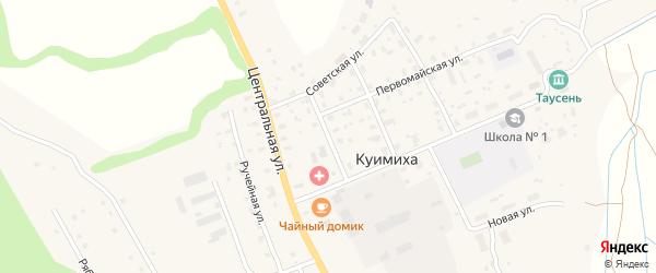 Совхозный переулок на карте деревни Куимихи с номерами домов