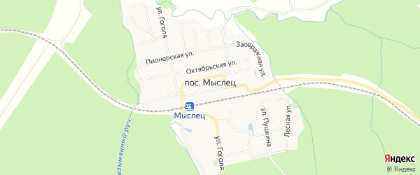 СТ Ягодка на карте деревни Мыслеца с номерами домов
