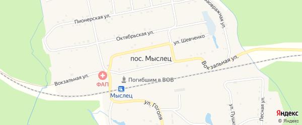 Вокзальная улица на карте поселка Мыслеца с номерами домов