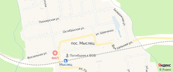 Улица Шевченко на карте поселка Мыслеца с номерами домов