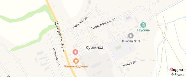 Мирный переулок на карте деревни Куимихи с номерами домов