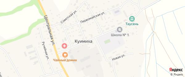Школьная улица на карте деревни Куимихи с номерами домов