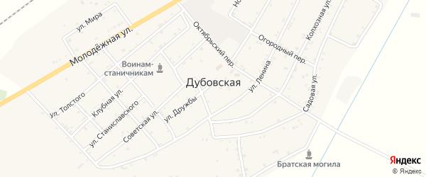 Октябрьский переулок на карте Дубовской станицы с номерами домов
