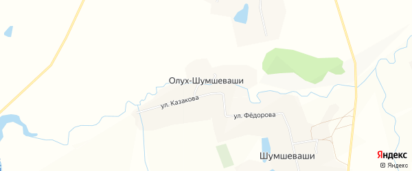 Карта деревни Олуха-Шумшеваши в Чувашии с улицами и номерами домов