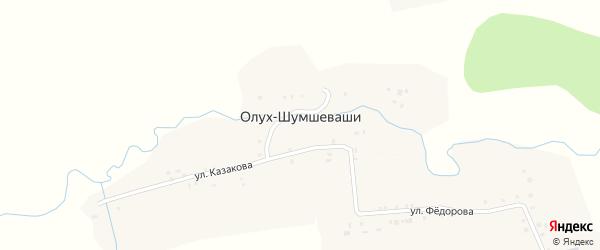 Улица Казакова на карте деревни Олуха-Шумшеваши с номерами домов