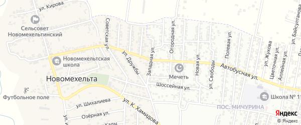 Западная улица на карте Хасавюрта с номерами домов