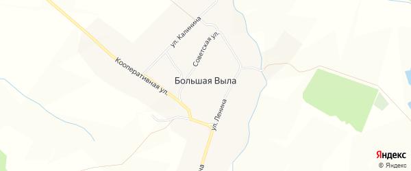 Карта села Большей Вылы в Чувашии с улицами и номерами домов