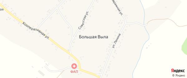 Заовражная улица на карте села Большей Вылы с номерами домов