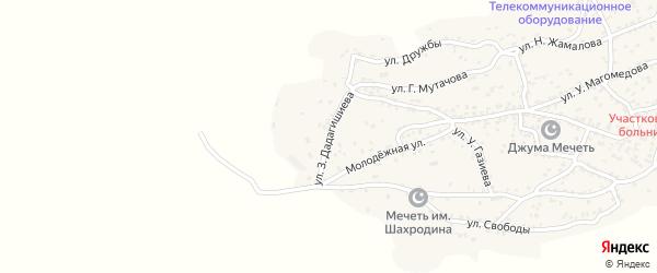 Улица З.Дадагишиева на карте села Ленинаула с номерами домов