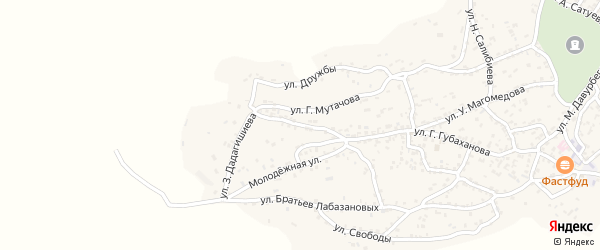Спортивная улица на карте села Ленинаула с номерами домов