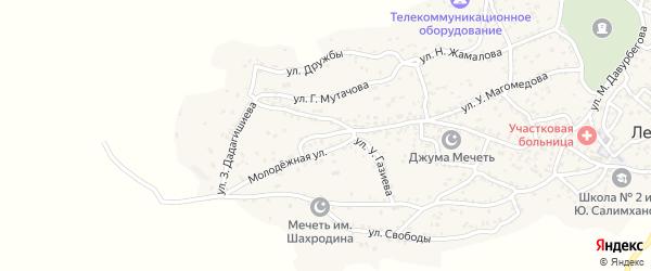 Улица А.Зубайриева на карте села Ленинаула с номерами домов