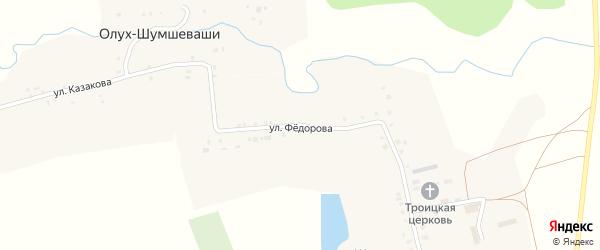 Улица Федорова на карте села Шумшевашей с номерами домов