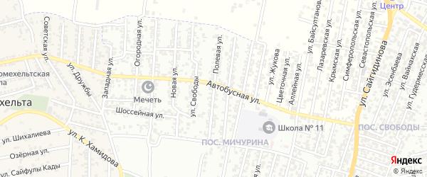 Полевая улица на карте Хасавюрта с номерами домов
