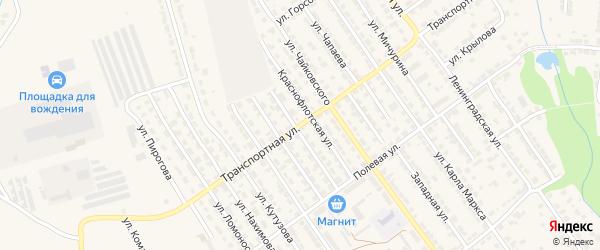 Транспортная улица на карте Алатыря с номерами домов